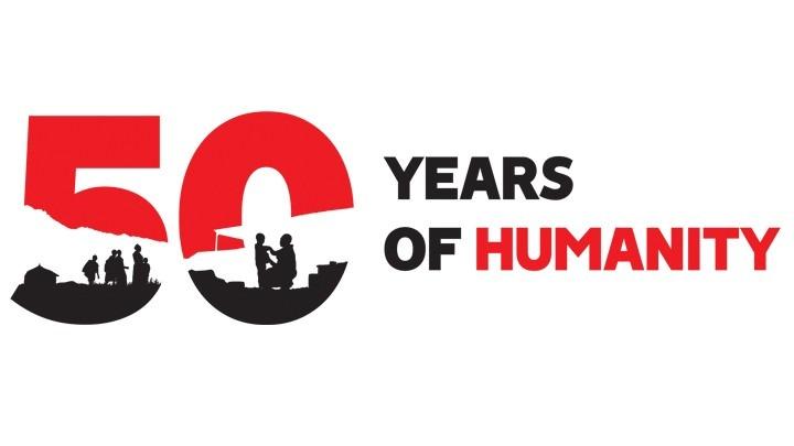 Bloc marketing MSF, 50 ans d'humanité